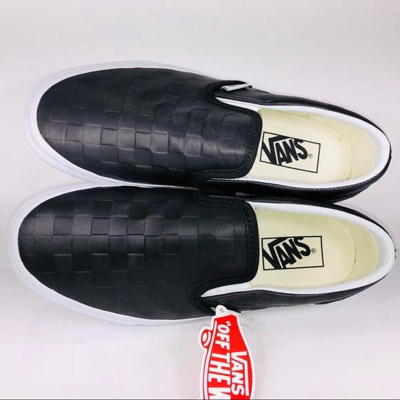 ed5765a35b Vans Slip On Leather Embossed Checkerboard Sneaker